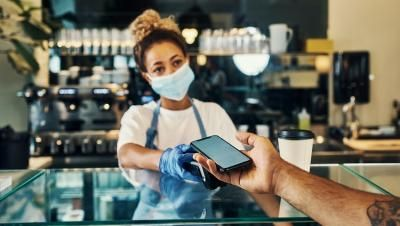 Small business worker with facemask
